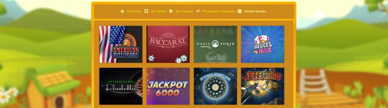 Casino games at Duck Duck Bingo