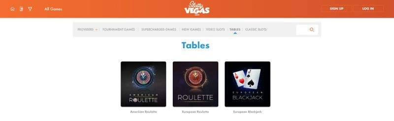 Table games at Slotty Vegas