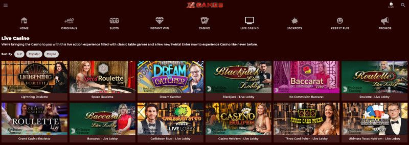 Live casino at X factor games