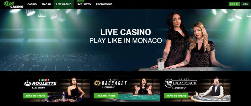 Live casino at ROO Casino