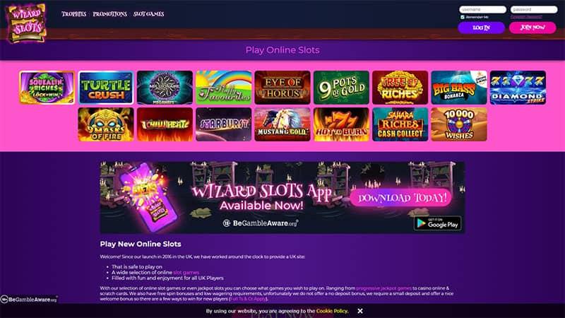wizardslots lobby screenshot