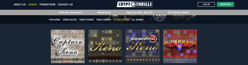 Keno and other casino games at Crypto Thrills Casino