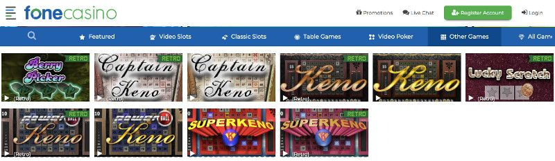 Keno and other games at Fone Casino