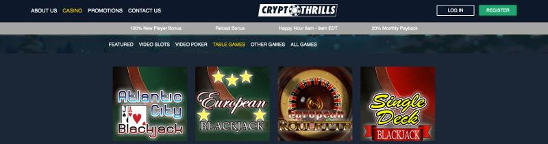Table games at Crypto Thrills Casino