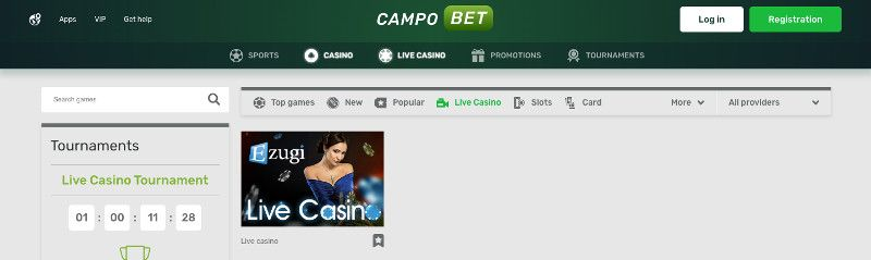Live casino at Campo bet