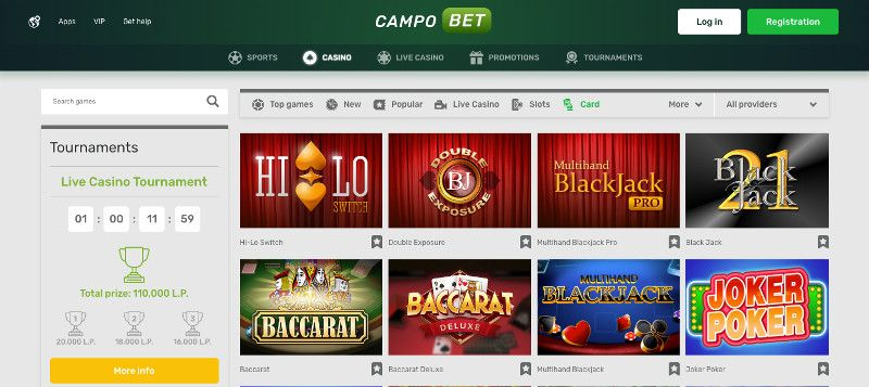 Table games at Campo bet