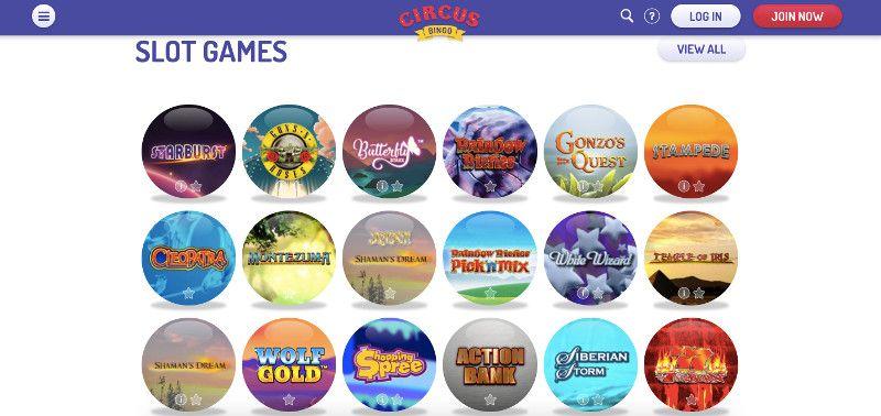 Slots at Circus Bingo
