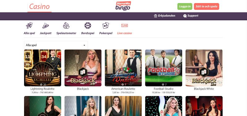 Live casino games at Mamma Mia Bingo