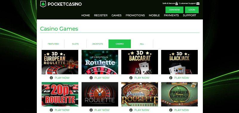 Table games at Pocket casino