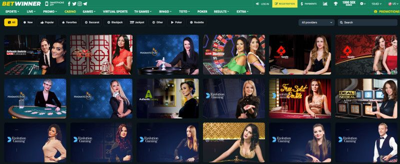 Live casino games at Betwinner