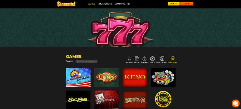 Keno and other speciality games at Slotastic