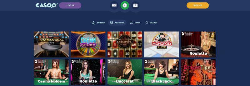 Live casino games at Casoo Casino