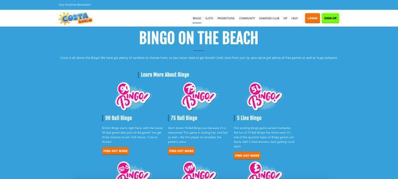 Bingo at Costa Bingo