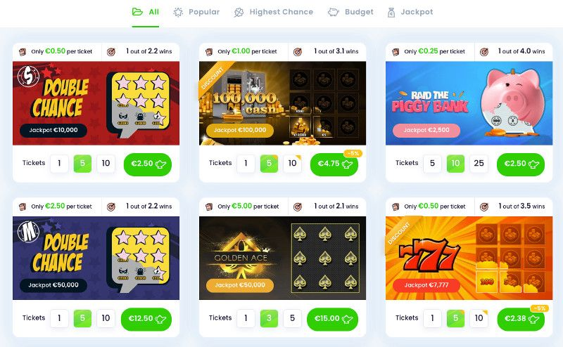 Scratchcards and other casino games at Jinni Casino
