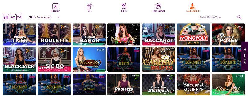 Live casino games All right casino