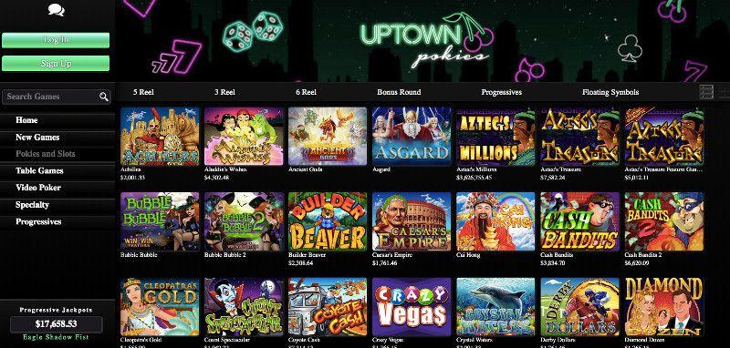 Slots and pokies at Uptown Pokies