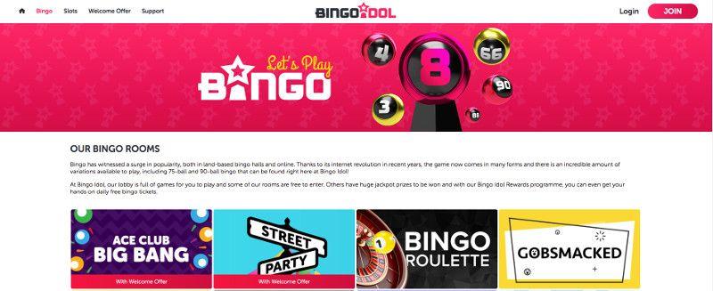 Bingo rooms at Bingo Idol