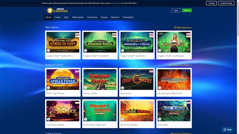 cashino lobby screenshot