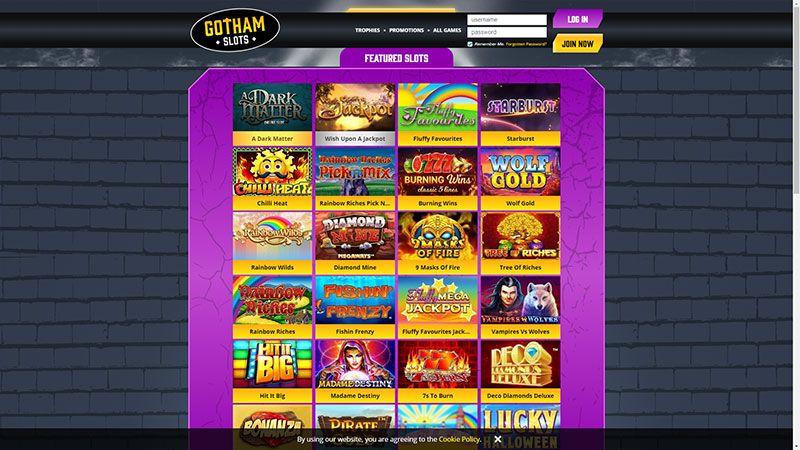 gotham slots lobby screenshot