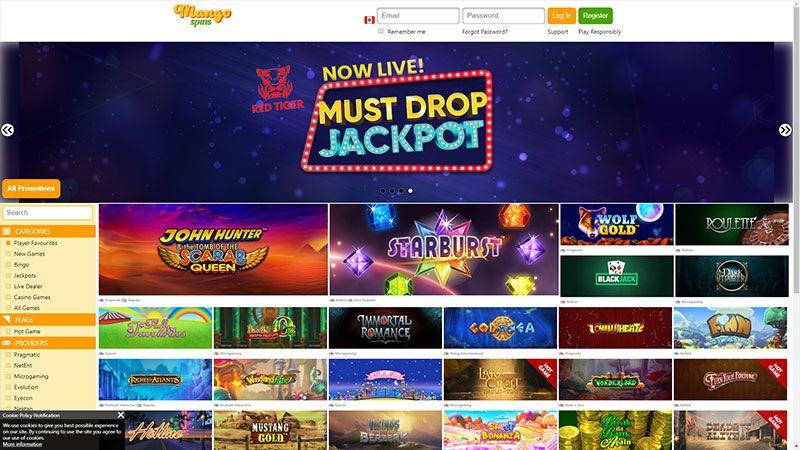 mango spins lobby screenshot
