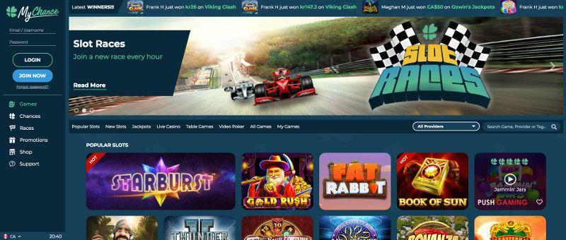 MyChanse casino screenshot