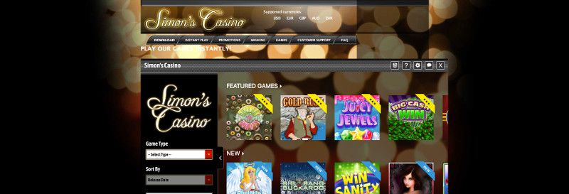 Simons casino screenshot