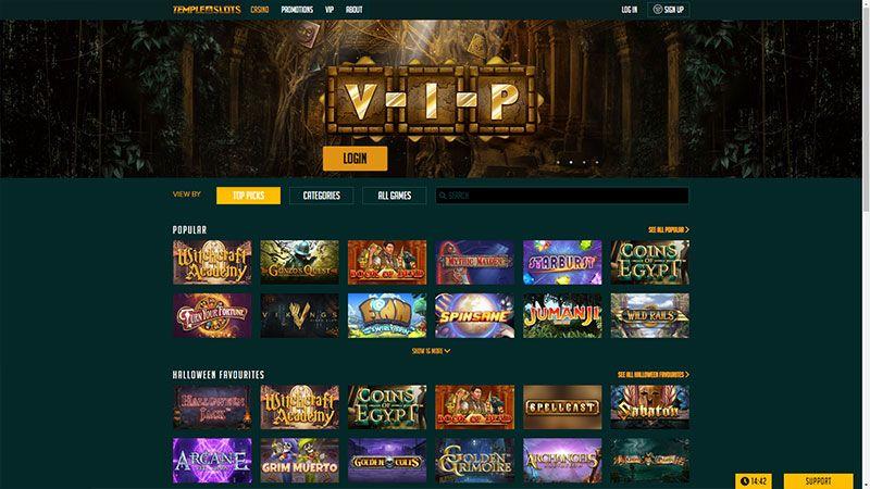 temple slots lobby screenshot