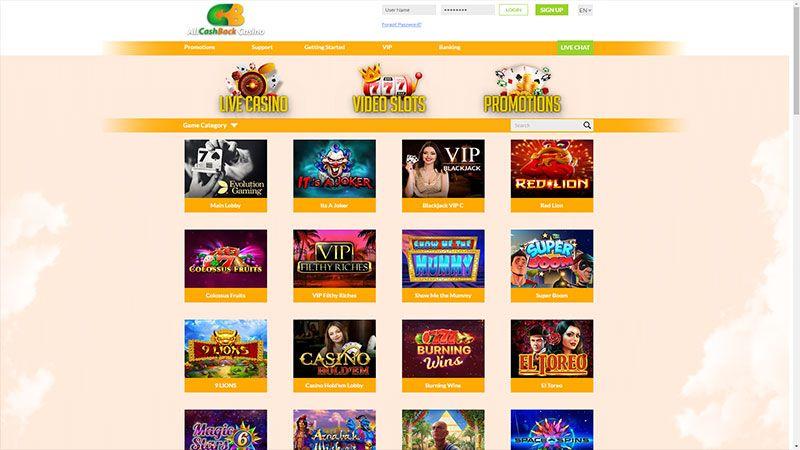 allcashback casino lobby screenshot