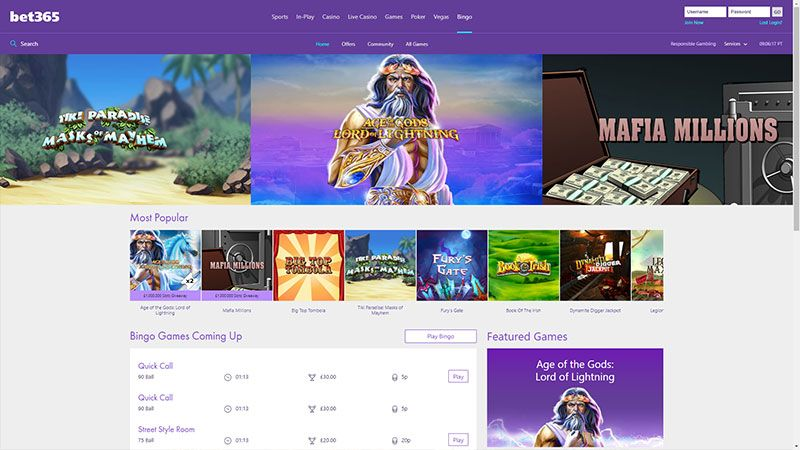 bet365 bingo lobby screenshot