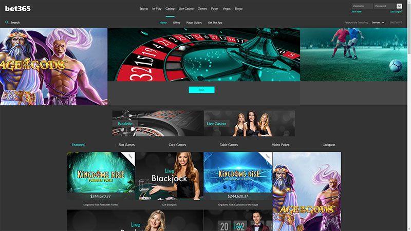 bet365 casino lobby screenshot