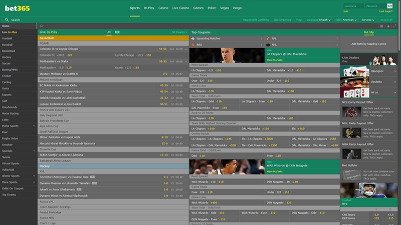 bet365 sport lobby screenshot