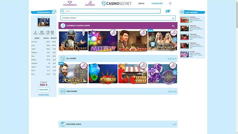 CasinoSecret lobby screenshot
