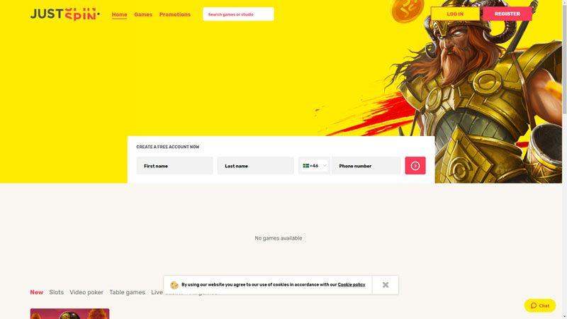 justspin lobby screenshot