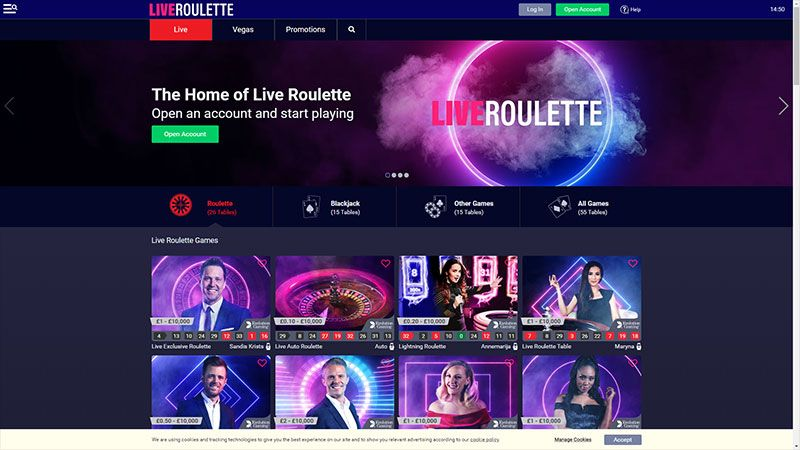 Live Roulette lobby screenshot