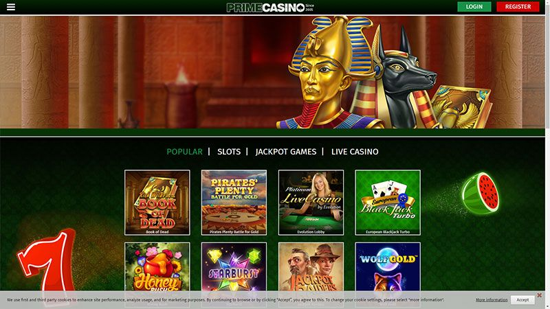 prime casino lobby screenshot