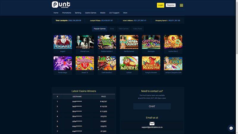 punt casino lobby screenshot