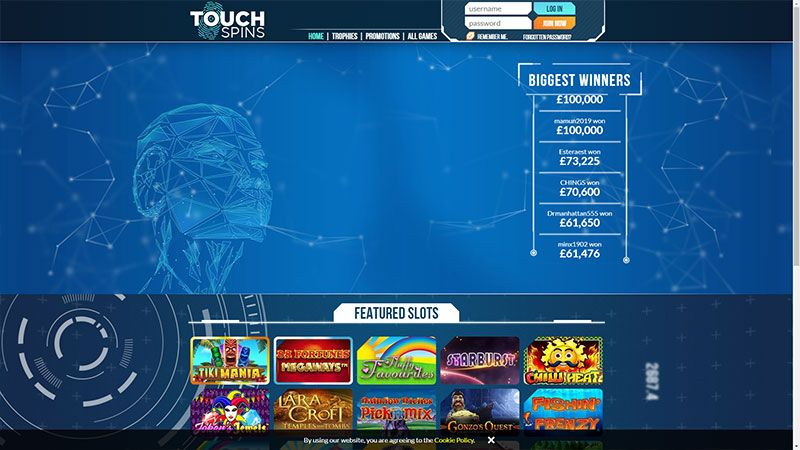 touch spins lobby screenshot