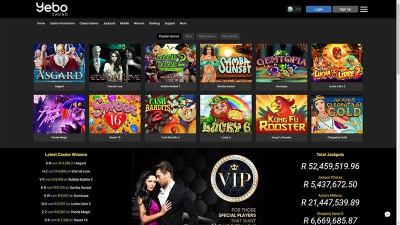 yebo casino lobby screenshot