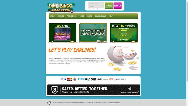 dino bingo lobby screenshot
