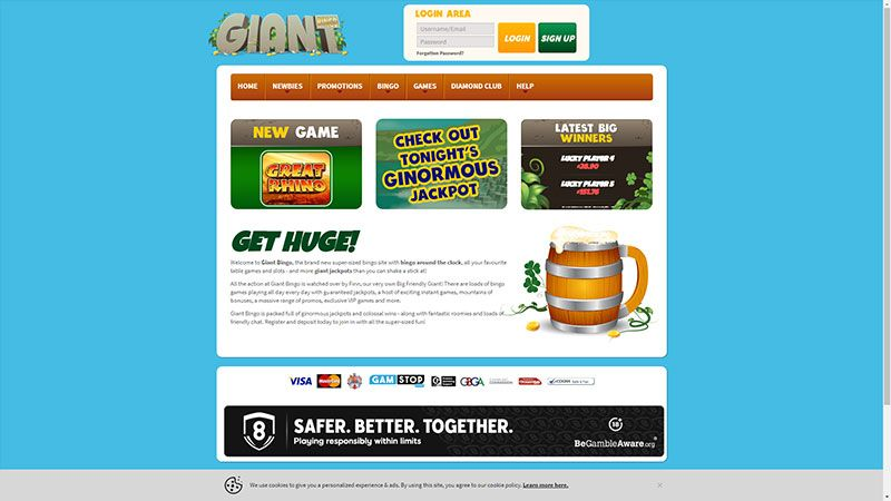 giant bingo lobby screenshot