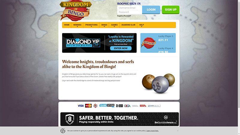 kingdom of bingo lobby screenshot
