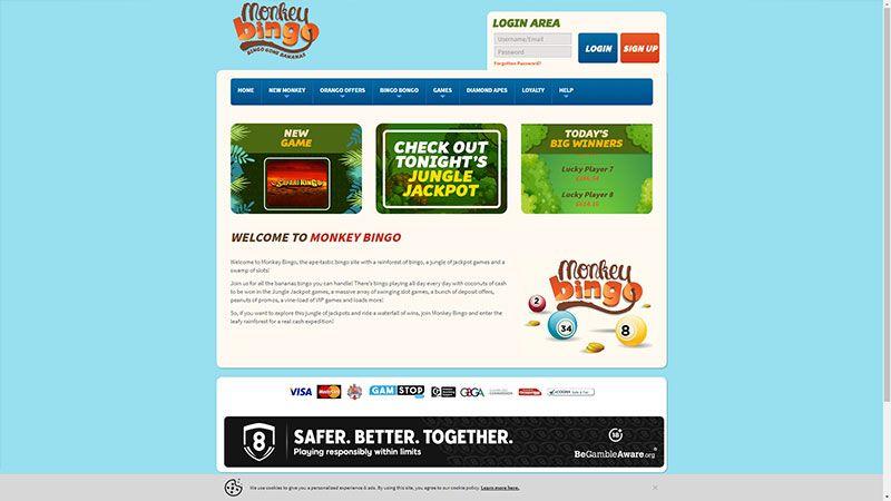 monkey bingo lobby screenshot
