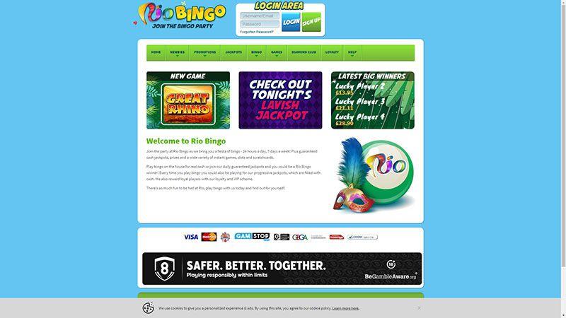 rio bingo lobby screenshot
