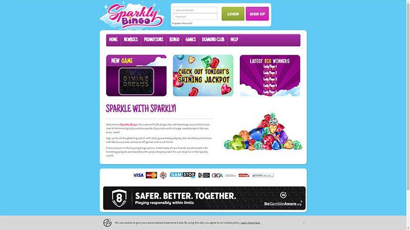 sparkly bingo lobby screenshot