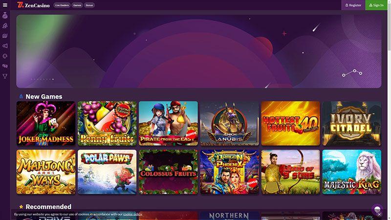 zen casino lobby screenshot