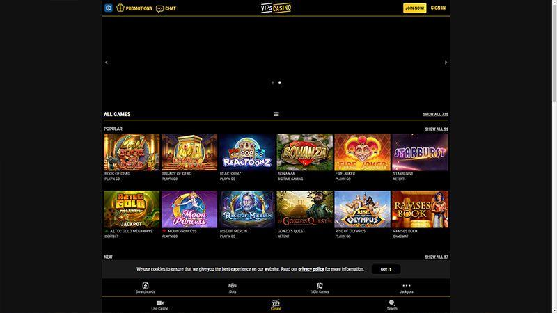 vipscasino lobby screenshot