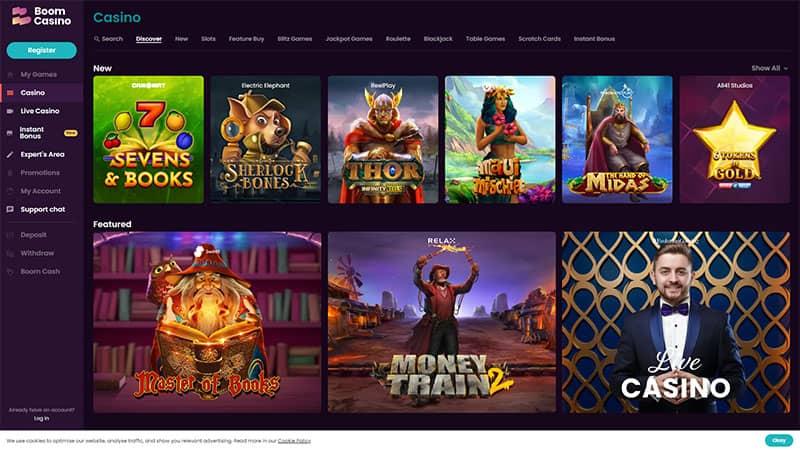 boom casino lobby screenshot
