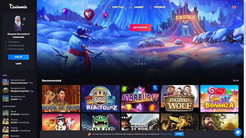 casinomia lobby screenshot