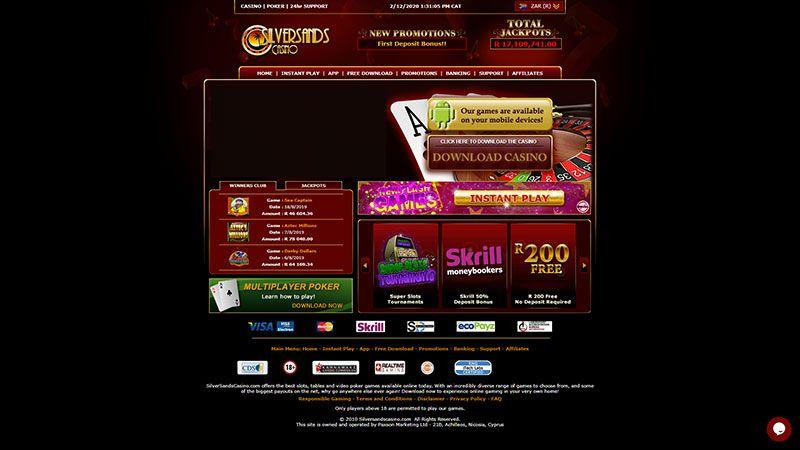 silversands casino lobby screenshot
