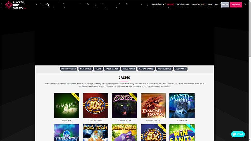 sportsandcasino lobby screenshot